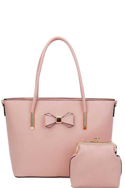 2IN1 RIBBON ACCENT SHOPPER WITH CROSSBODY SET