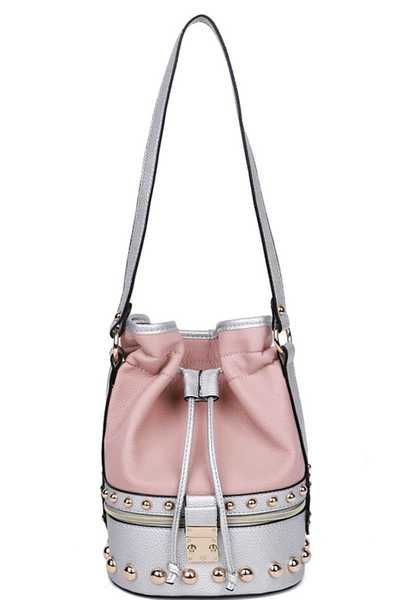 TWO TONE MODERN BALL STUDDED BUCKET SHOULDER BAG