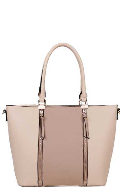 MODERN DOUBLE FRONT ZIPPER TOTE BAG WITH LONG STRAP