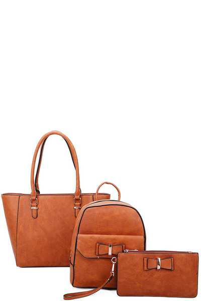 3IN1 STYLISH SATCHEL BACKPACK AND CLUTCH SET