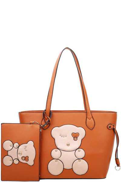 2IN1 CUTE BEAR PATCH WORK SHOPPER WITH COIN PURSE