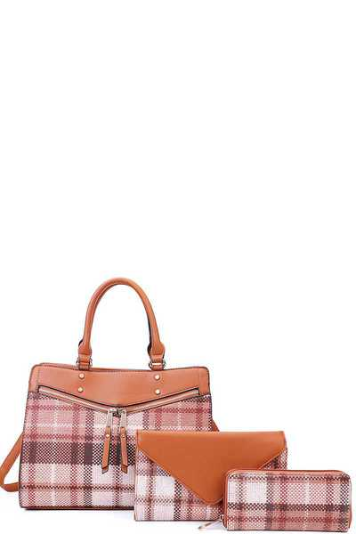 3IN1 PLAID CHECK SATCHEL CLUTCH AND WALLET SET