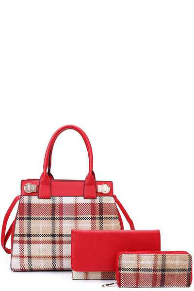 3IN1 CHECK SATCHEL BAG CLUTCH AND WALLET SET