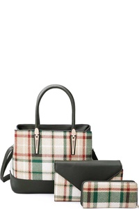3IN1 HOT CHECK SATCHEL BAG CLUTCH AND WALLET SET