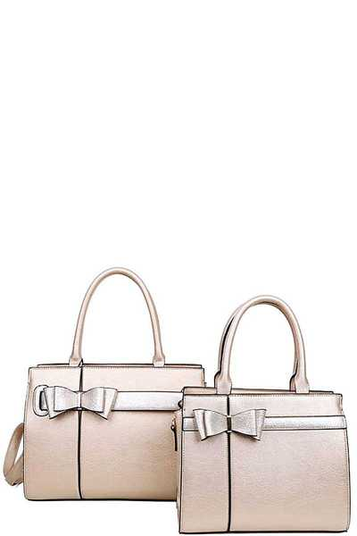 2IN1 CUTE PRESENT INSPIRED SATCHEL SET WITH LONG STRAP