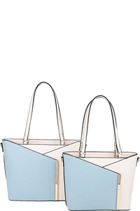 2IN1 TWO TONE STYLISH TOTE SET WITH LONG STRAP