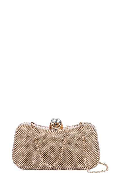 DESIGNER FASHION MULTI RHINESTONE CLUTCH WITH CHAIN