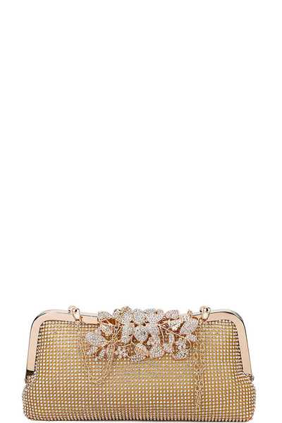 MULTI RHINESTONE CHIC PARTY CLUTCH WITH CHAIN