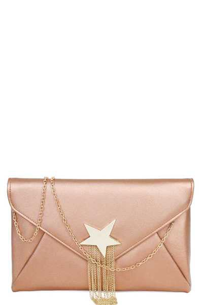FASHION SHOOTING STAR ACCENTED ENVELOPE CLUTCH WITH CHAIN