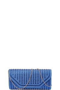 MULTI RHINESTONE EVENING PARTY CLUTCH WITH CHAIN