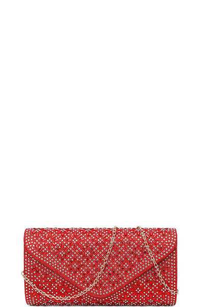 CHIC MULTI RHINESTONE PARTY CLUTCH WITH CHAIN