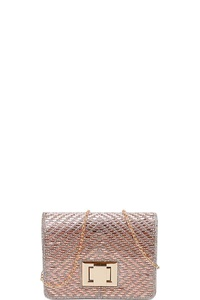 STYLISH CUTE MULTI RHINESTONE CROSSBODY CLUTCH WITH CHAIN