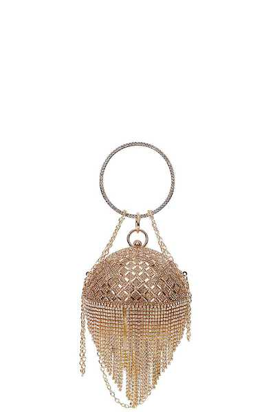 DESIGNER MULTI RHINESTONE BALL SHAPE CLUTCH WITH CHAIN