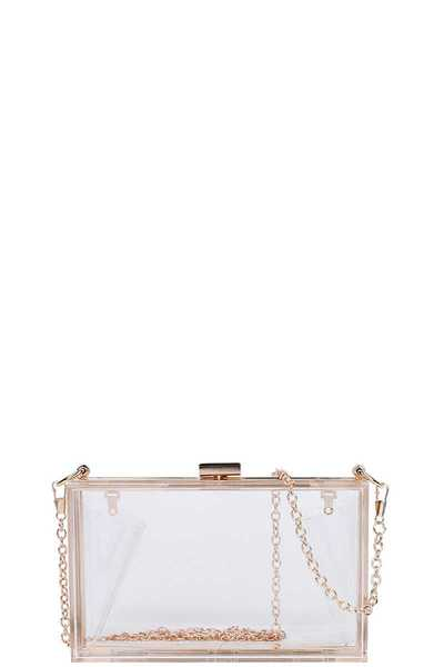 STYLISH TRANSPARENT RECTANGULAR CLUTCH WITH CHAIN