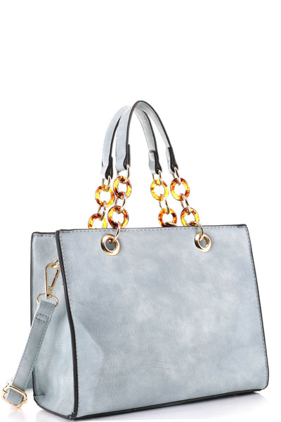 Linked Chain Accent Classy 2-Way Medium Satchel