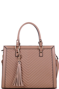 Tassel Accent Chevron Quilted 2-Way Structured Satchel