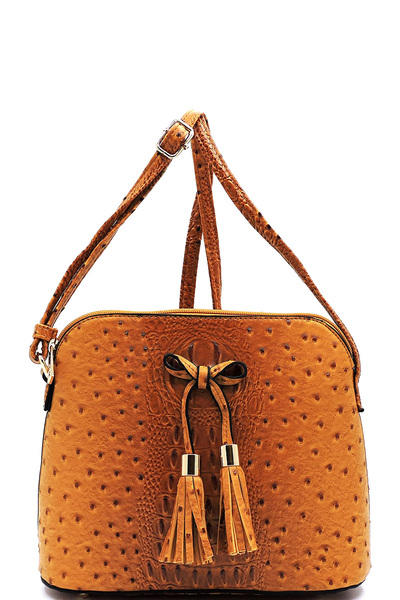 Ostrich Croc Bow Dome Crossbody Bag