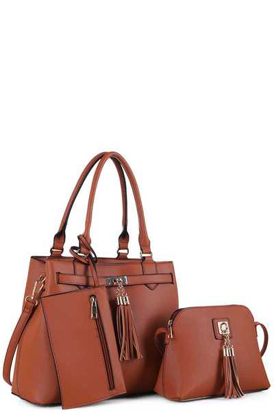 3IN1 TASSEL ACCENT SATCHEL CROSSBODY