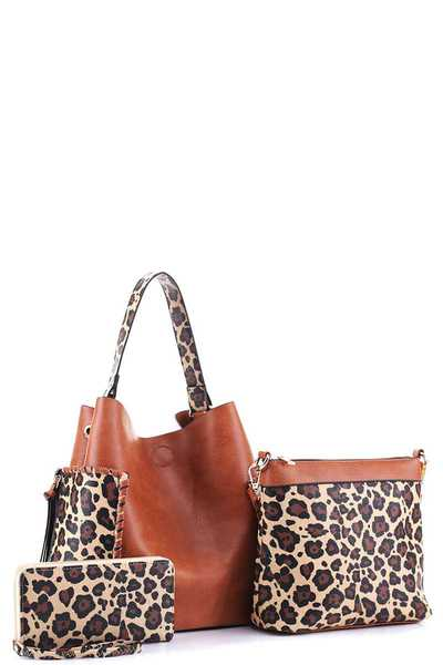 3IN1 MODERN PLAIN LEOPARD DESIGN HOBO BAG WITH MINI BAG AND WALLET SET