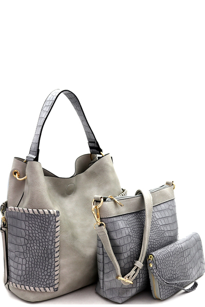 Whipstitched Pocket Crocodile 3in1 Hobo&Wallet