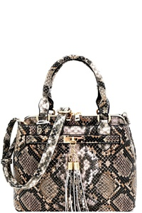 Tassel Accent Snake Print 3-Compartment Medium Satchel