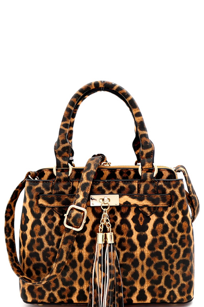 Tassel Leopard Print 3-Compartment Medium Satchel