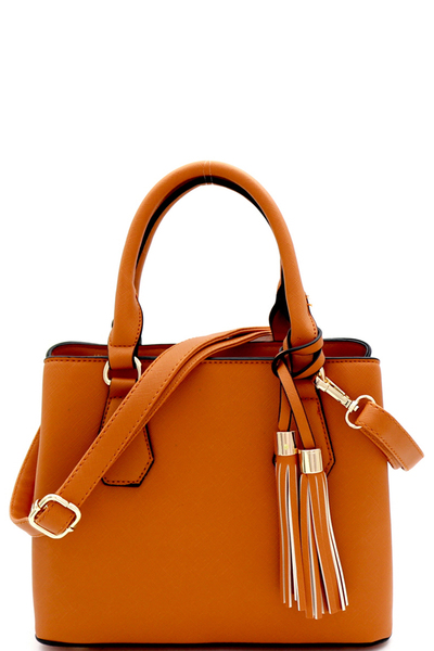 Tassel Accent 3-Compartment Medium 2-Way Satchel