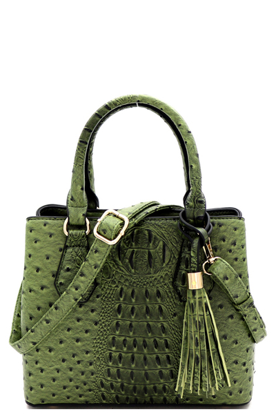 Ostrich Print 3-Compartment Medium 2-Way Satchel
