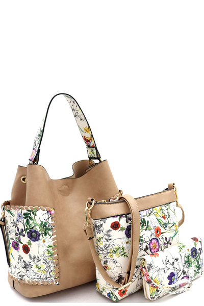 Flower Butterfly Print 3 in 1 Hobo Wallet SET