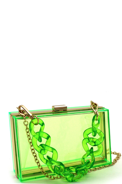 Linked Chain Strap Clear Acrylic Hard Clutch