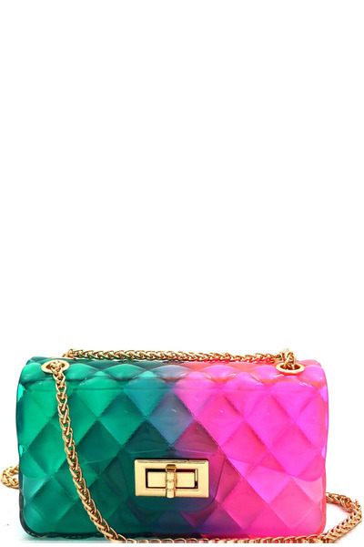 Gradated Multi-colored Jelly Flap Shoulder Bag