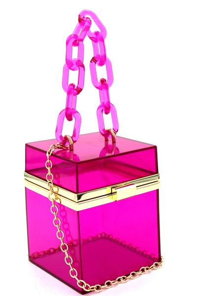 Linked Chain Strap Clear Acrylic Hard Box Clutch