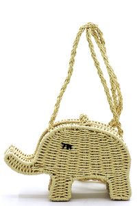 Straw Elephant Crossbody Bag Satchel