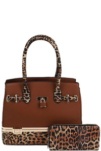 2IN1 LEOPARD TWO TONE SATCHEL WITH MATCHING WALLET