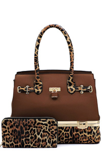 Leopard Colorblock Padlock 2-in-1 Satchel