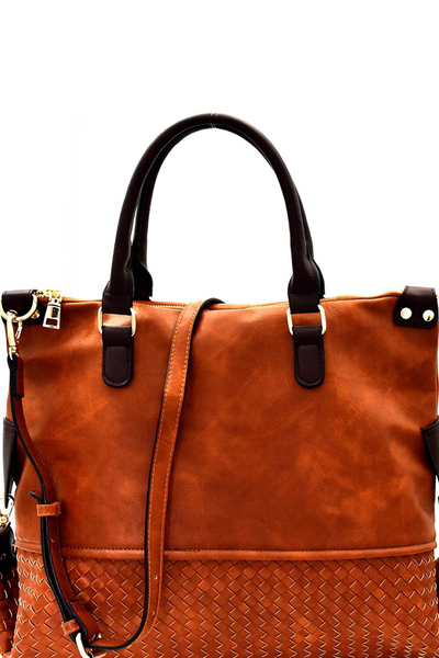 Woven Detail Large 2-Way Satchel
