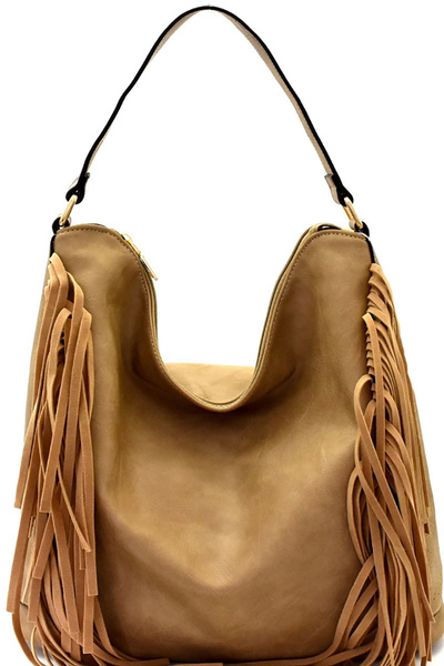 Fringed Side Perforated Single Strap Hobo