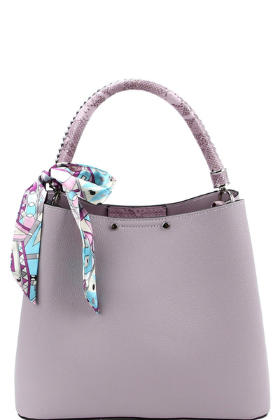 Scarf Accent 3-Compartment Snake Print Detail Hobo