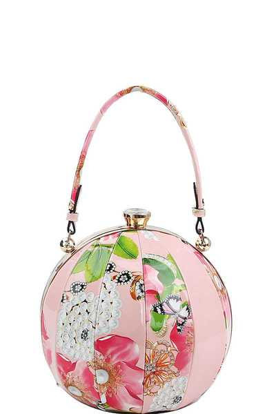 FASHION FLORAL BALL SATCHEL WITH LONG STRAP