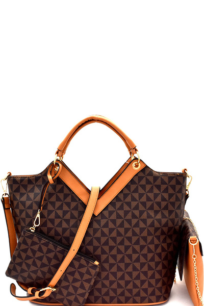 Monogram Two-Tone 4 in 1 Satchel Value SET