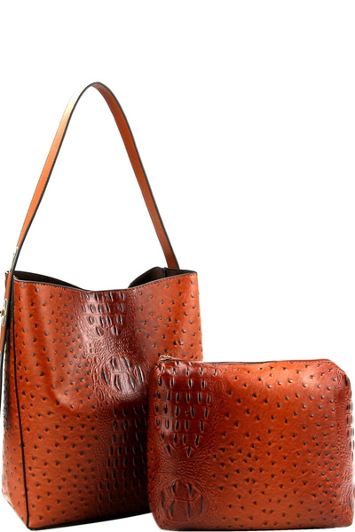 Ostrich Print 2 in 1 Adjustable Strap Hobo