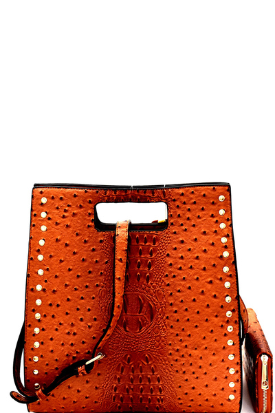 Stud Accent Ostrich Embossed Satchel Wallet SET