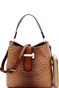 Ostrich Buckle Accent Two-Tone Hobo Wallet SET