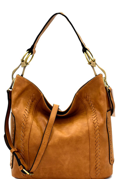 Whipstitch Accent Side Ring Large Hooked 2-Way Hobo