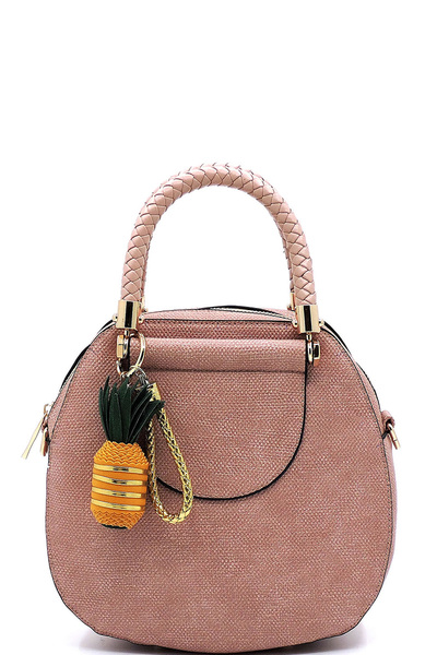 Textured Braided Top Handle Satchel with Pineapple Keychain