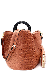 Handle Accent Ostrich Embossed Satchel Wallet SET