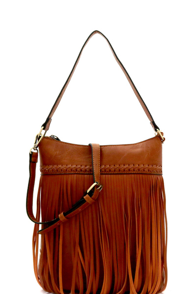 CHILLX Braid Accent Fringed 2-Way Hobo Cross Body