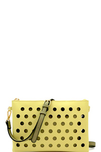 Perforated Color Block 2 in 1 Clutch Shoulder Bag