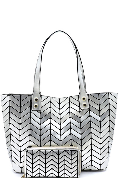 Geometric Chevron Checkered 2-in-1 Shopper