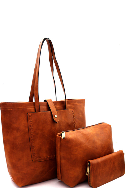 Stitch Accent Pocket 3 in 1 Shopper Tote Value SET